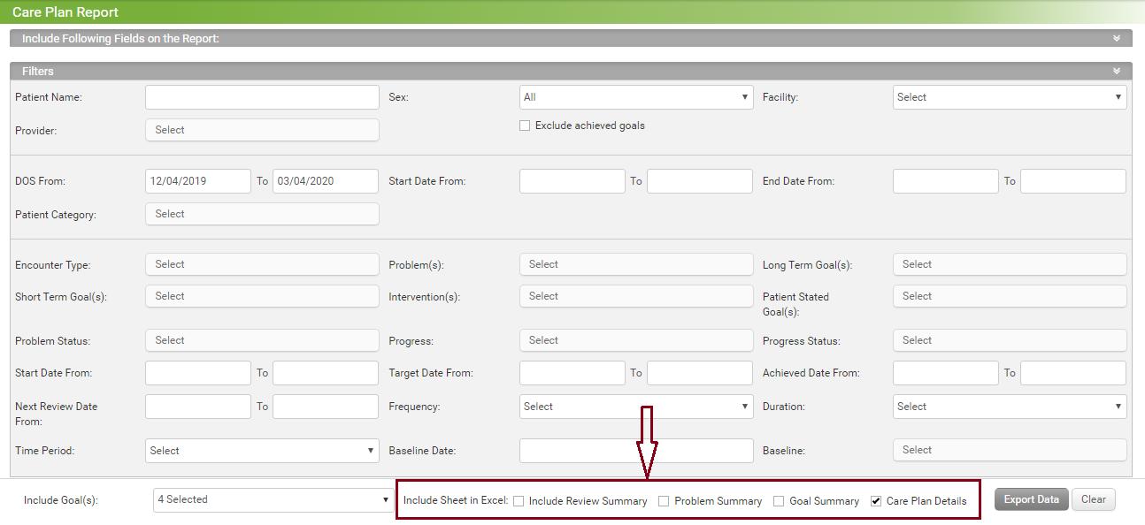 care plan report screenshot