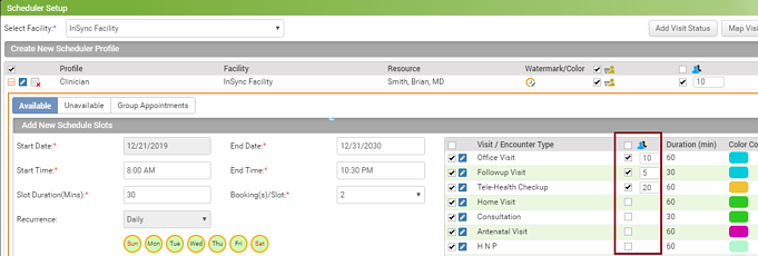 InSync EHR Updates with the ability to book on-demand group appointments for encounter types