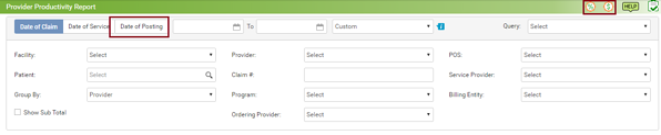 enhanced provider productivity report screen capture
