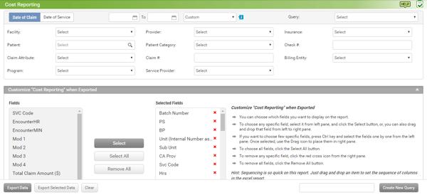 enhanced cost report screen capture