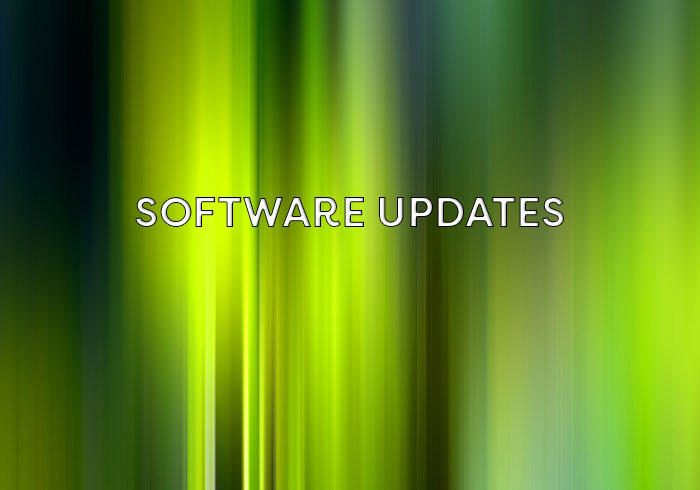 New software updates from InSync Healthcare Solutions on a shimmering green background that has been made to mimic the aurora borealis