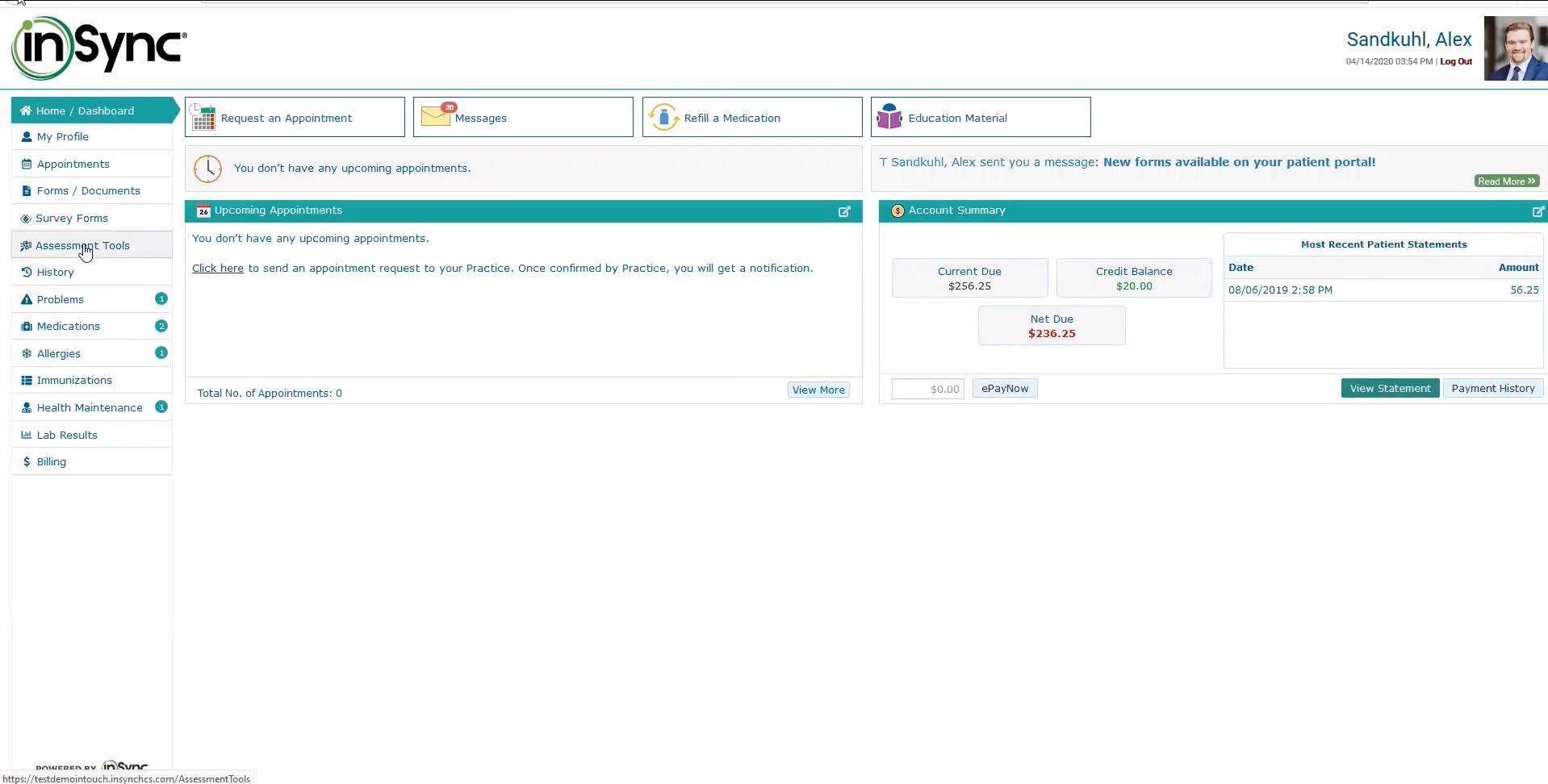 insync healthcare solutions patient portal website patient view