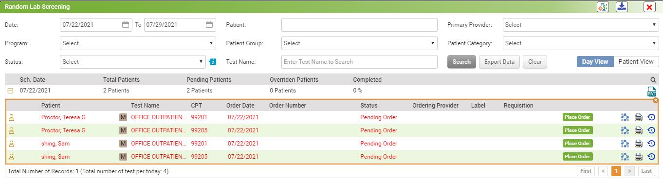 screenshot of InSync EHR's new random lab and drug testing module