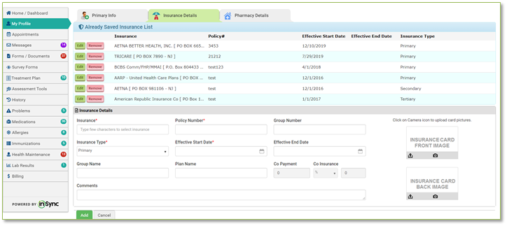 an image of the insync ehr patient portal for scanning insurance ID cards